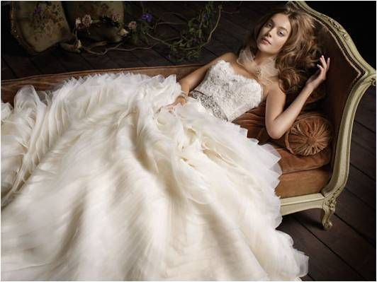 Ivory texture heavy 2011 ballgown with corset bodice and bridal belt