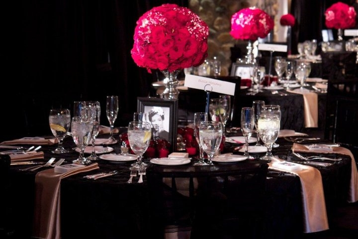 Old Hollywood Glam wedding tablescape red rose topiaries black table
