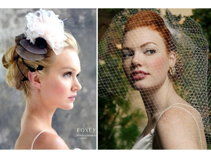 Adorable cocktail bridal hat with veiling and silk touches