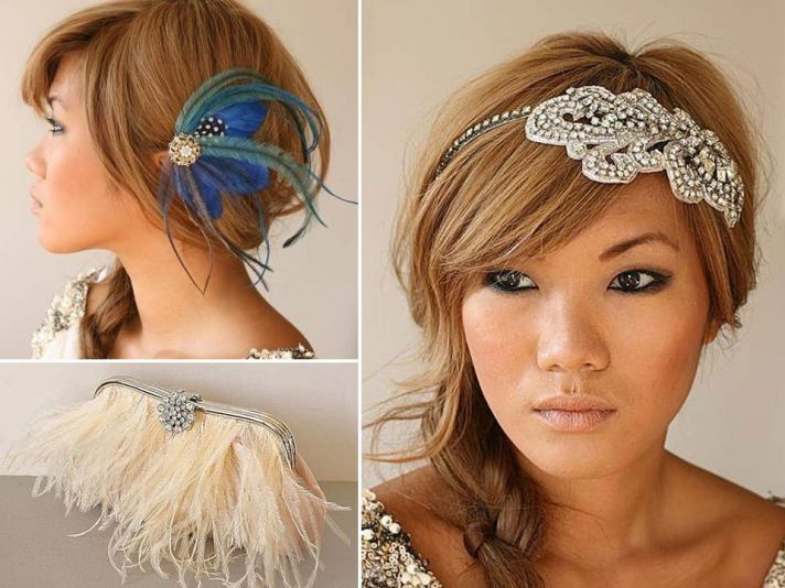 Bespoke bridal accessories: custom-made bridal headpiece, feather-adorned clutch, peacock hair feath