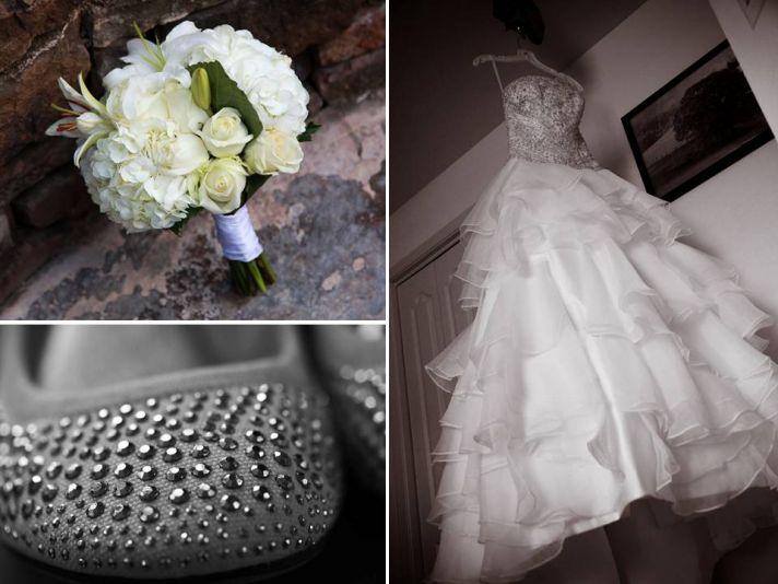 Lovely strapless beaded corset wedding dress with full ruffled a-line skirt