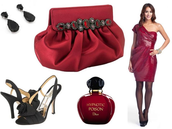 Sultry red satin bridal clutch, strappy black bridal heels