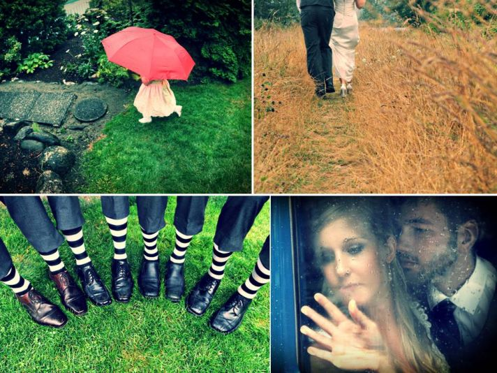 Groomsmen wear funky socks with tux shoes, bride and groom play in the rain