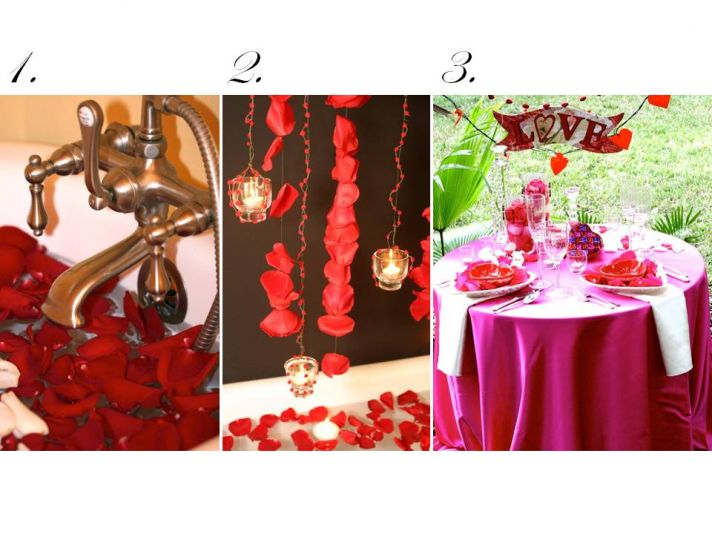 Red rose petals create a romantic bath, beautiful garland and a festive sweetheart table