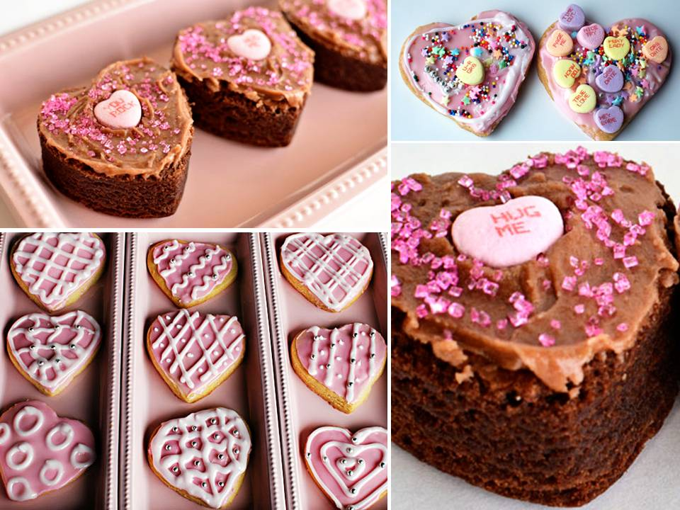 Yummy heartshaped brownies and cookies for your Valentine 39s Day wedding