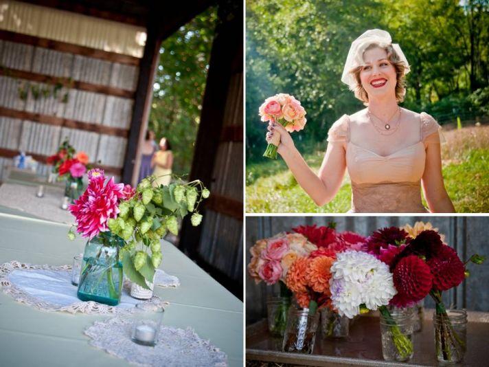 Beige v-neck vintage-inspired wedding dress, colorful wedding flowers