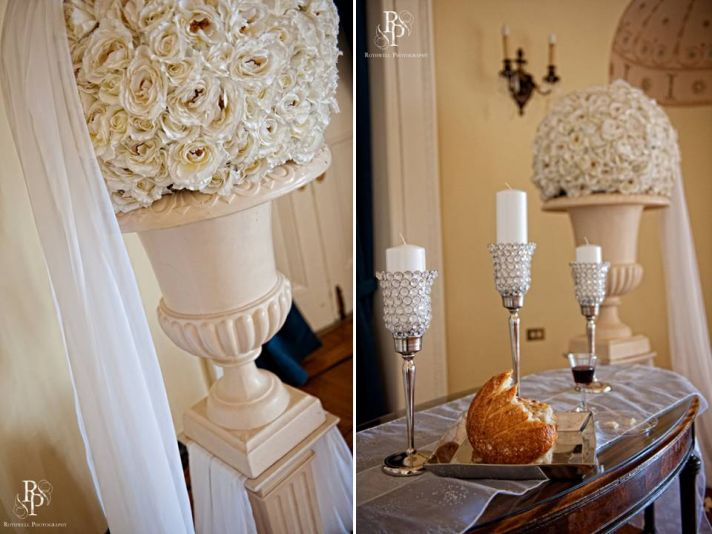 All ivory floral topiaries for wedding ceremony flowers and decor