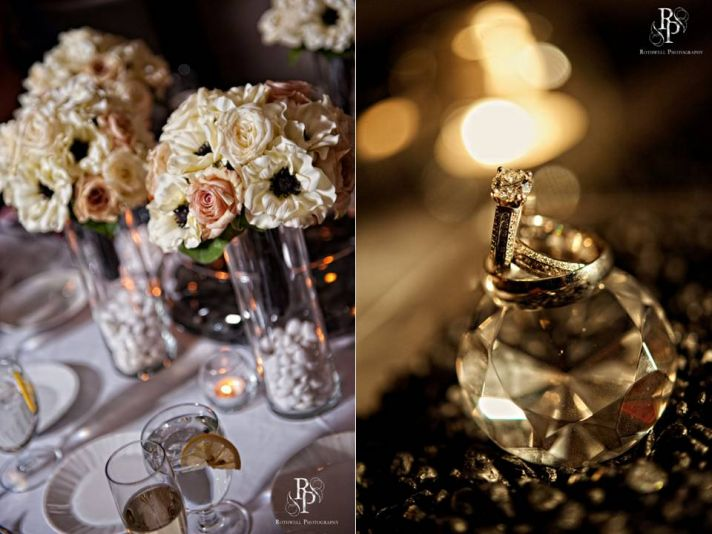 Artistic engagement ring wedding photo and gorgeous bridesmaids' bouquets