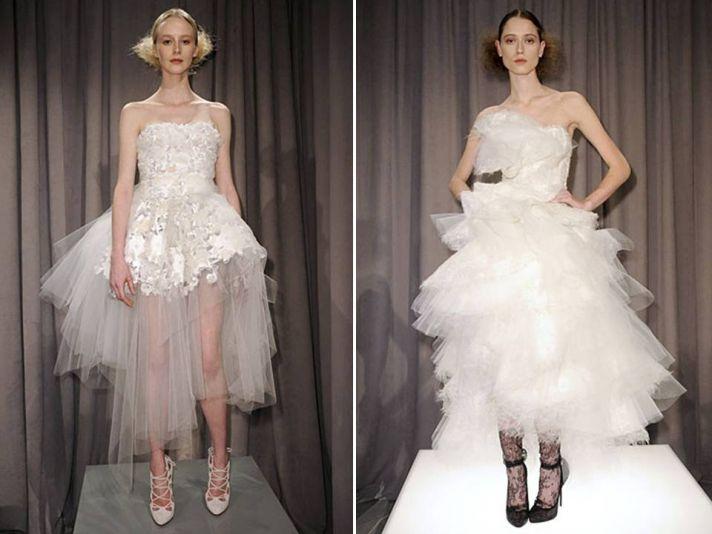 White strapless tea-length tulle wedding dresses by Marchesa