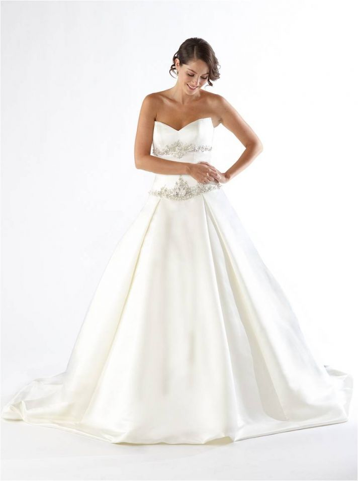White satin strapless a-line wedding-dress with rhinestone beading