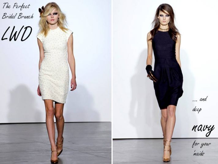 L'Wren Scott Fall 2011 RTW white cocktail dress for bridal brunch, gorgeous deep navy bridesmaid dre