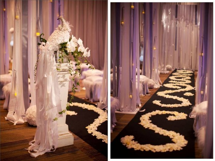 Elegant Wedding Ceremony Decorations : Wedding flowers ceremony decor ideas white rose petals aisle