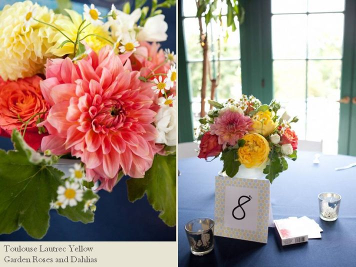 Vibrant Spring or Summer wedding flowers in coral yellow color palette