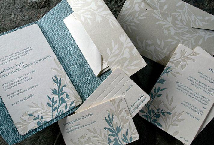 Nature-inspired eco-friendly letterpress wedding invitations