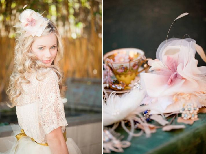 ROmantic and feminine blush pink bridal hat with French veiling