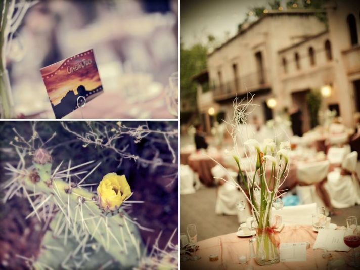 Rustic meets Southwest wedding style- wedding reception escort cards and centerpieces