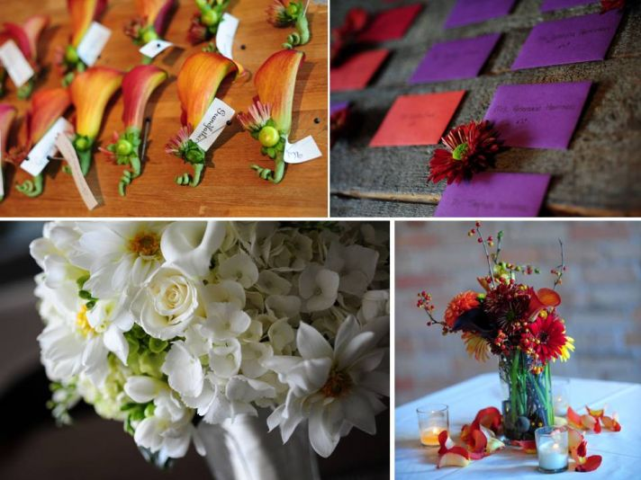 Orange lily boutonierres, purple and red escort cards, white bridal bouquet