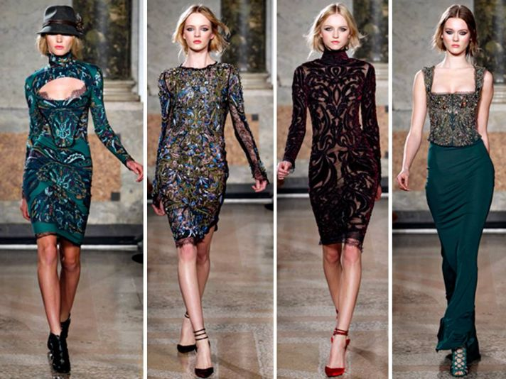 Sleek cocktail dresses with beading, embroidery and lace by Emilio Pucci