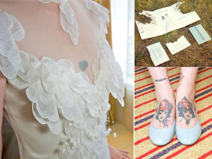 Ivory romantic wedding dress, ballet flat bridal shoes