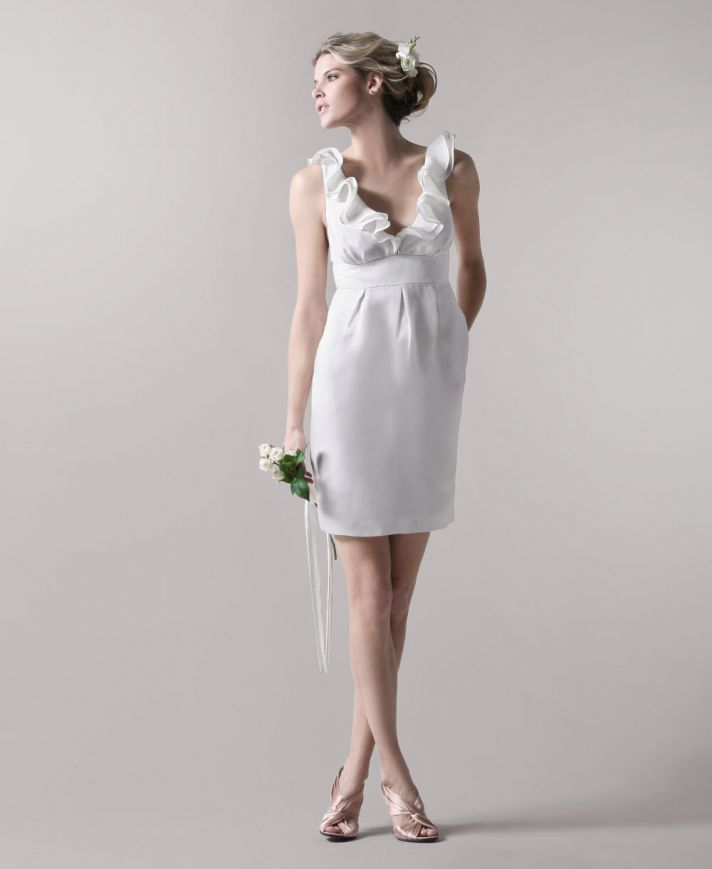 White mini wedding reception dress with v-neck and ruffle detail