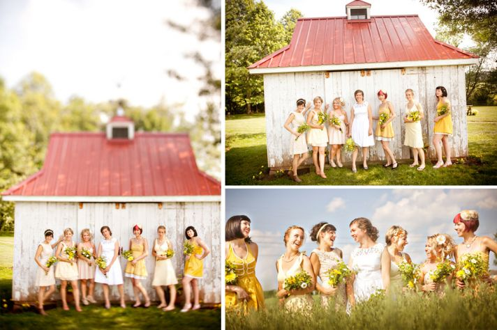 Mix and match casual bridesmaids style for outdoor wedding