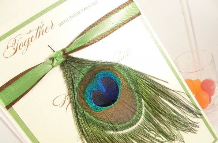 peacock-design-wedding-invitation-teal-brown-green-adorned-with-real-feather-blog