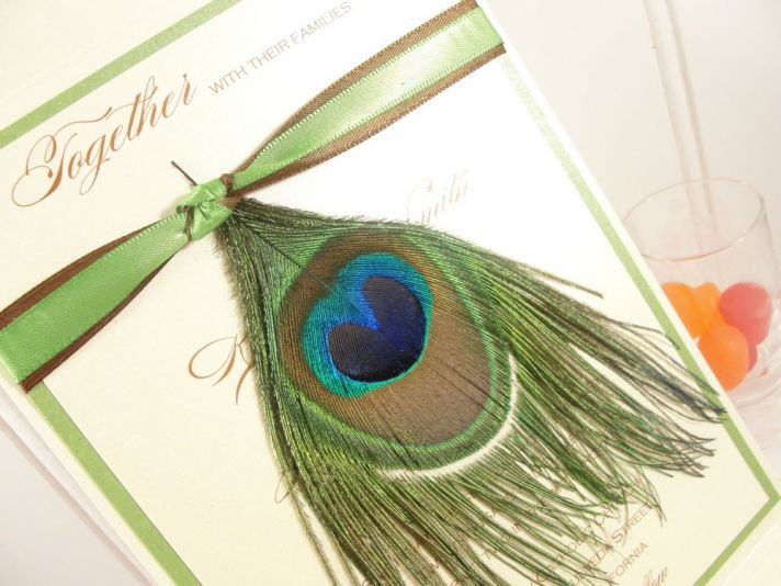 Chic wedding invitation adorned with genuine peacock feather
