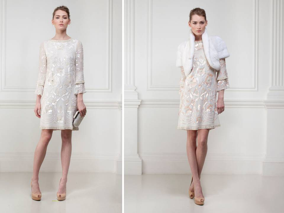 Vintageinspired short shift dress for wedding reception