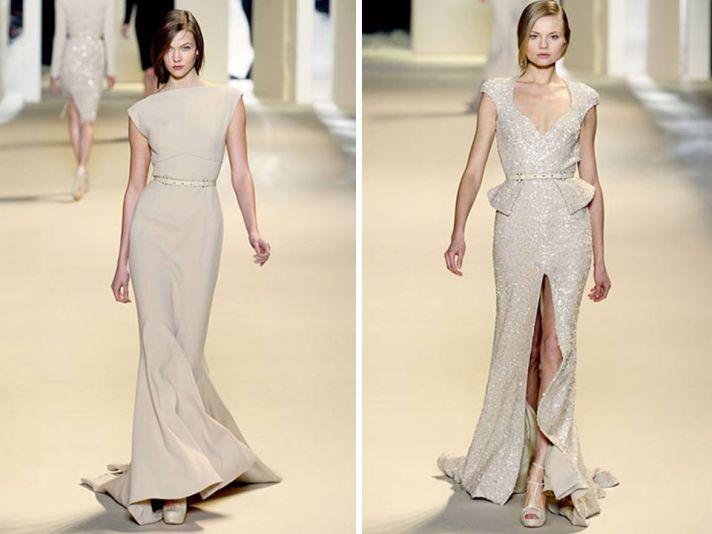 Fall 2011 Elie Saab beige gowns- bateau neck, mermaid silhouette, dazzling beading