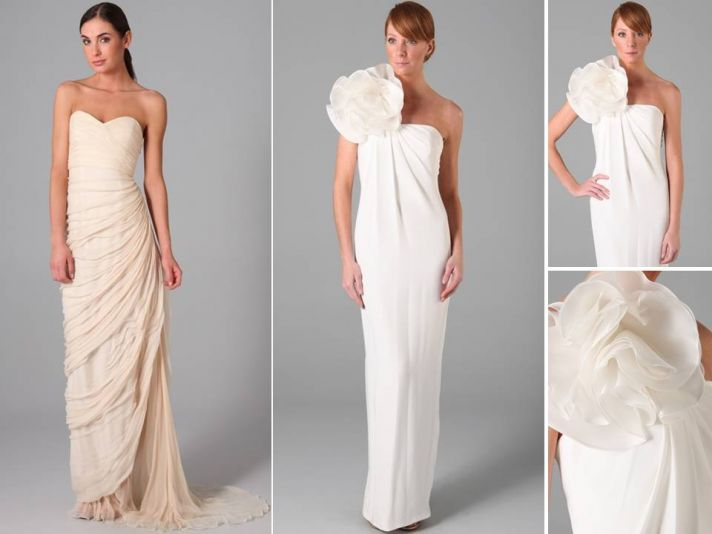 Modern and sleek column wedding dresses featuring sweetheart neckline and large flower applique