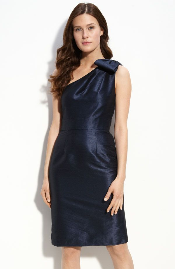 Monique Lhuillier bridesmaid dress with one shoulder in deep midnight blue