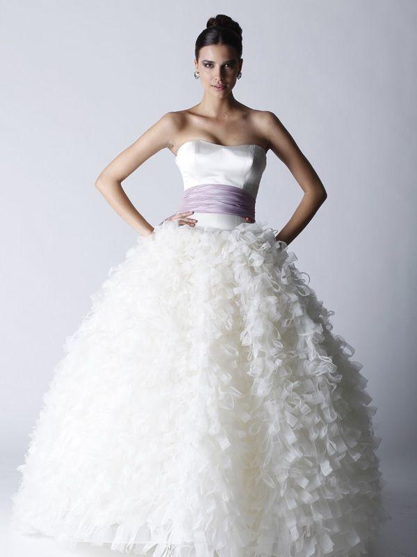 Strapless full ballgown wedding dress with lavender bridal sash