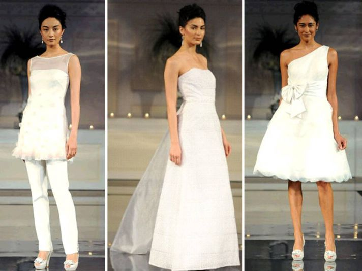 Classic white wedding reception and wedding ceremony bridal gowns