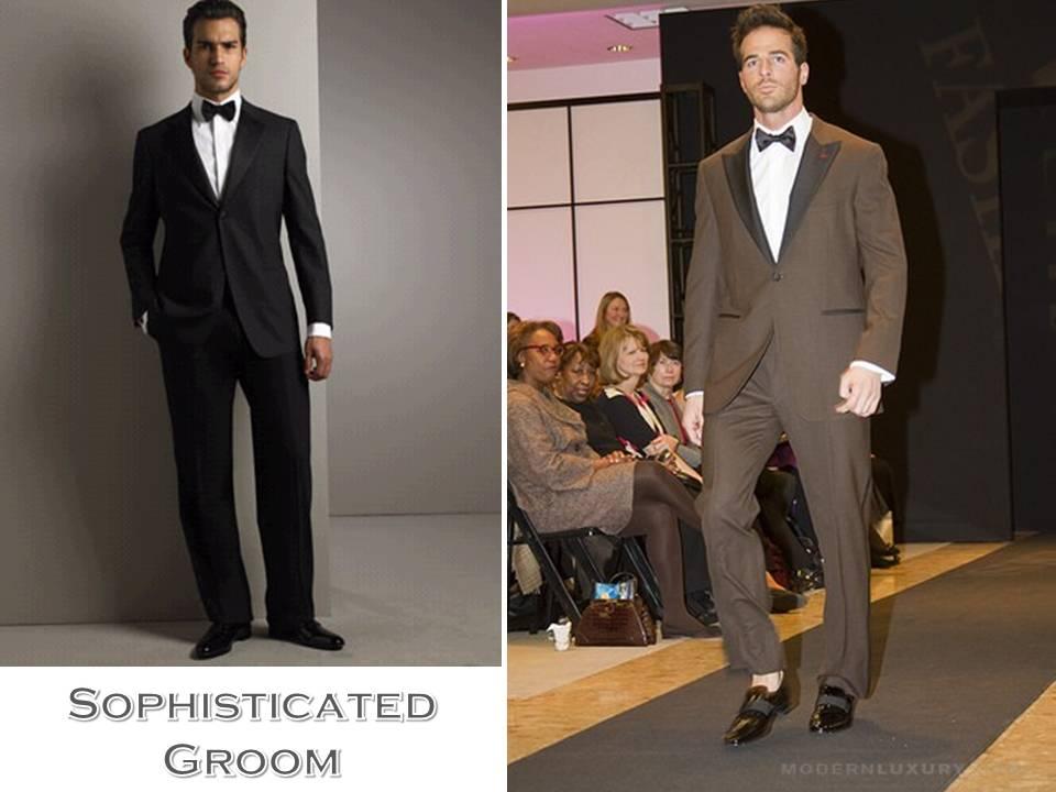 Sophisticated classic groom 39s attire black tux chocolate brown tuxedo
