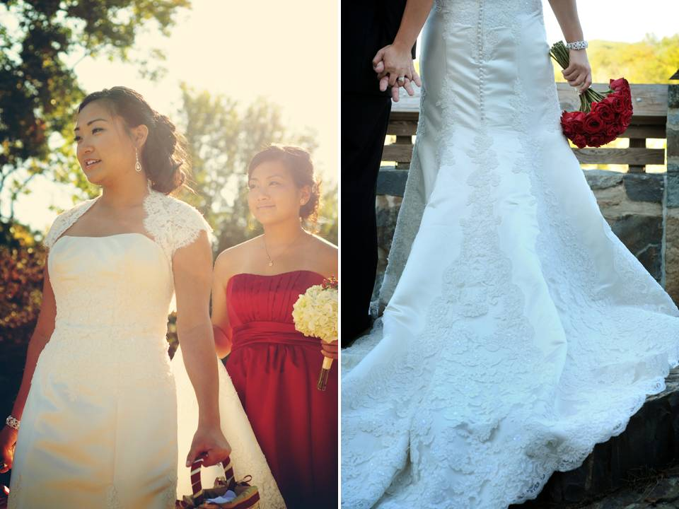 Bride wears ivory mermaid wedding dress with lace applique
