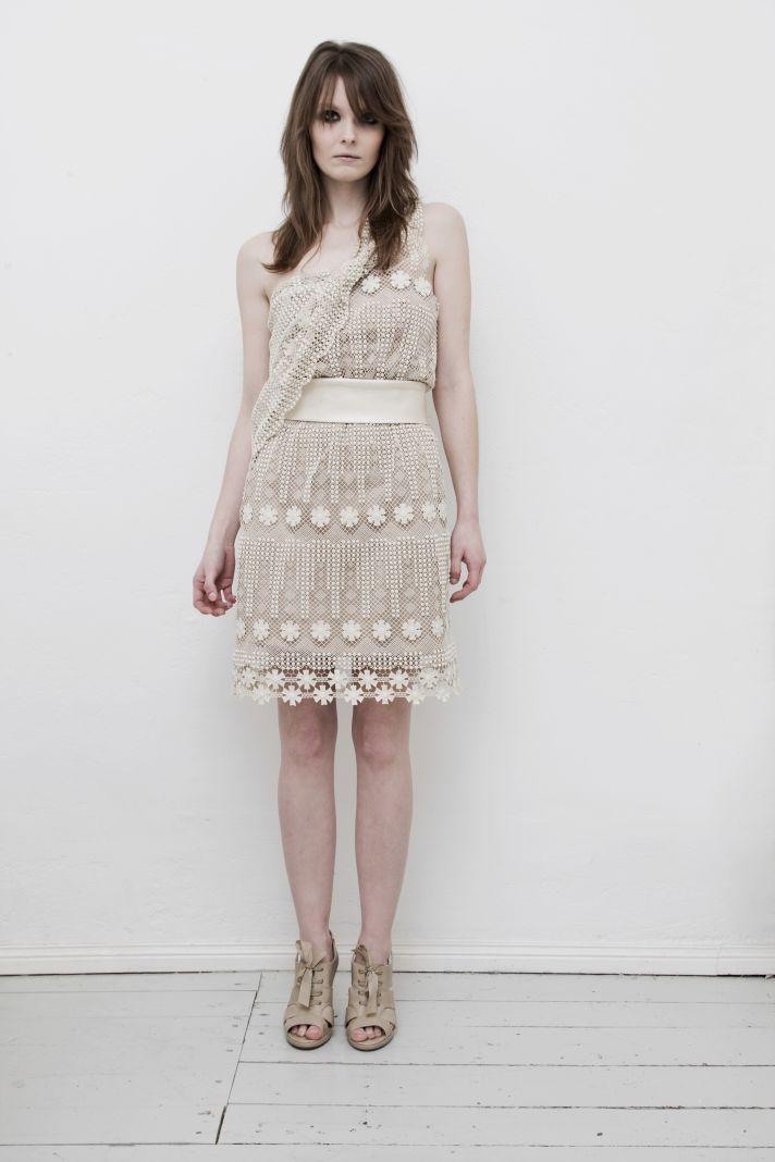 Vintage beige lace and linen wedding reception dress for boho brides