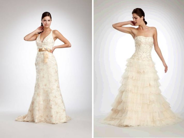 Designer wedding dresses with romantic lace and beading