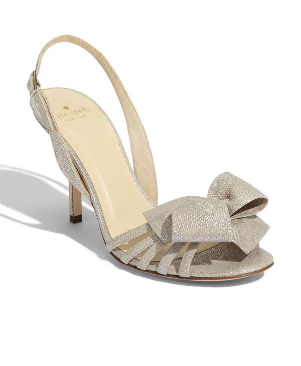 Kate Spade bridal heels- the Lourdes shoe with metallic shimmer and bow detail