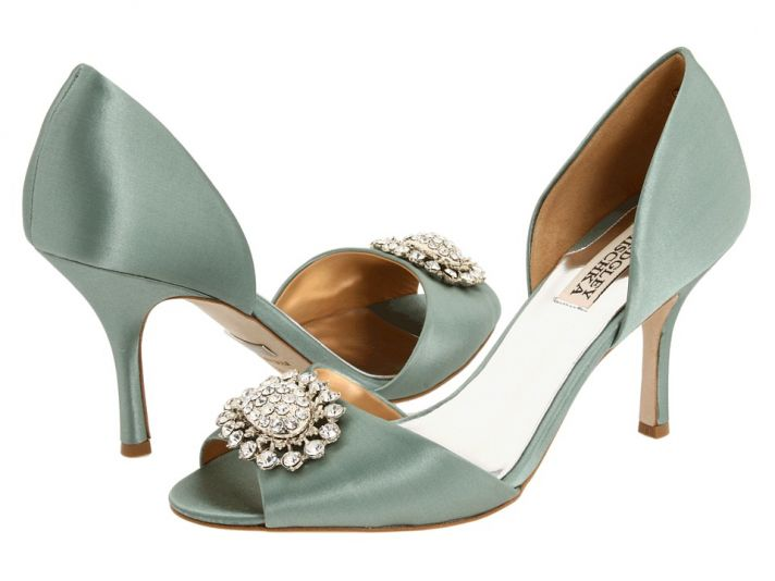 Peep-toe satin bridal heels in muted sea foam hue with rhinestone and pearl brooch