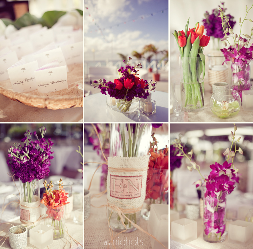 Mix and match pink purple red wedding flowers for destination wedding