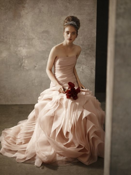 White by Vera Wang 2011 wedding dress in light pink