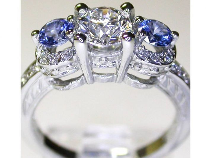 On-trend 3 stone diamond and sapphire engagement ring