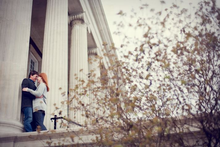 Outdoor Kentucky engagement session, photographed by historic building