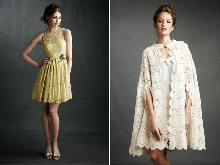 Adorable yellow lace cocktail frock with vintage-inspired rhinestone brooch