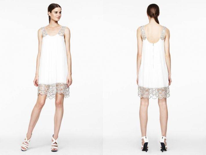 Little white wedding dress- sheath style with metallic silver beading