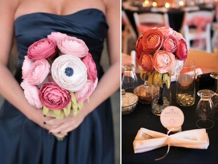 Romantic DIY wedding flowers- paper ranunculu bridal bouquet
