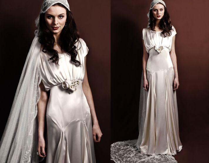 Slinky silk vintage-inspired bridal gown