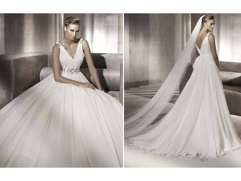 Chic 2012 Pronovias wedding dress with vneck and rhinestone detail