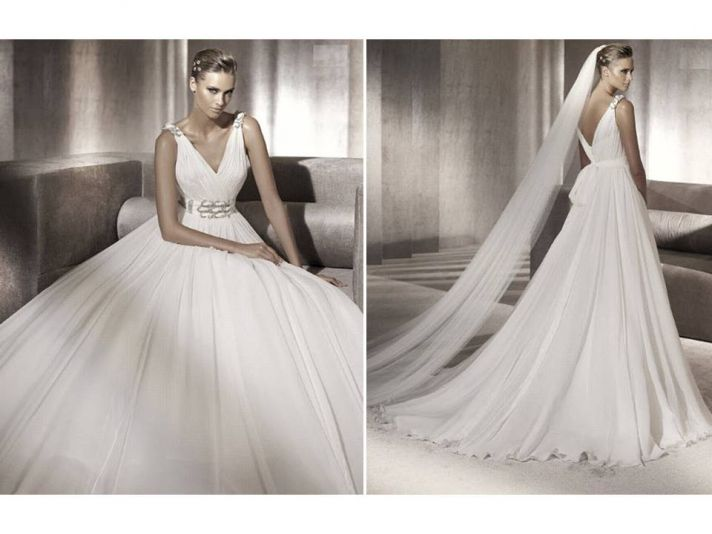 Chic 2012 Pronovias wedding dress with v-neck and rhinestone detail