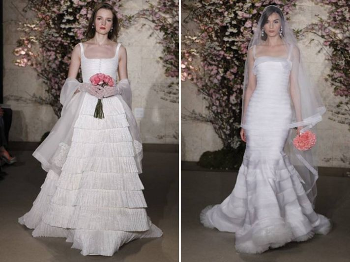Oscar de la Renta vintage-inspired 2012 wedding dresses with tiered skirts
